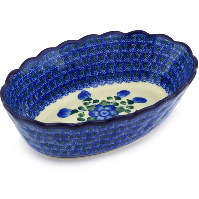 "Polish Pottery Oval Bowl 9"" Blue Poppies"