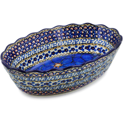 "Polish Pottery Oval Bowl 9"" Cobalt Poppies UNIKAT"
