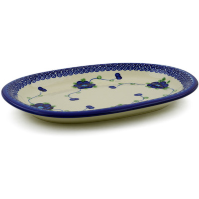 "Polish Pottery Oval Platter 11"" Blue Poppies"