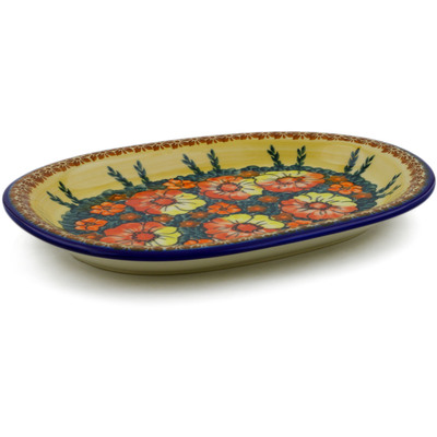 "Polish Pottery Oval Platter 11"" Poppy Love UNIKAT"