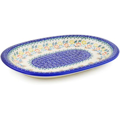 "Polish Pottery Oval Platter 11"" Spring Flower Ring"