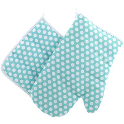 "Polyester Oven Mitten with Pot Holder 12"" Polka Mint"