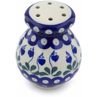 "Polish Pottery Parmesan Shaker 4"" Bleeding Heart Peacock"