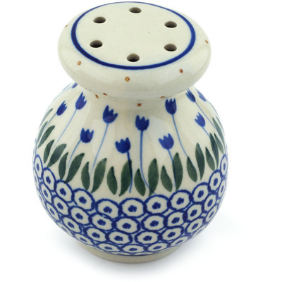 "Polish Pottery Parmesan Shaker 4"" Blue Tulip Circle"
