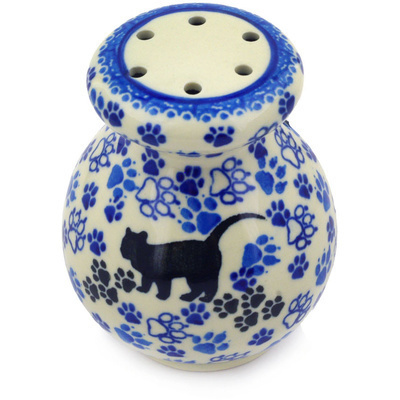 "Polish Pottery Parmesan Shaker 4"" Kitty Prints"