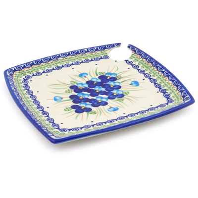 "Polish Pottery Party Plate 9"" Blue Pansy"