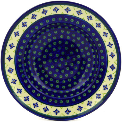 "Polish Pottery Pasta Bowl 11"" Green Gingham Peacock"
