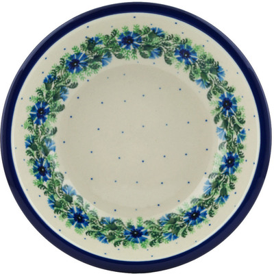 "Polish Pottery Pasta Bowl 8"" Blue Bell Wreath"