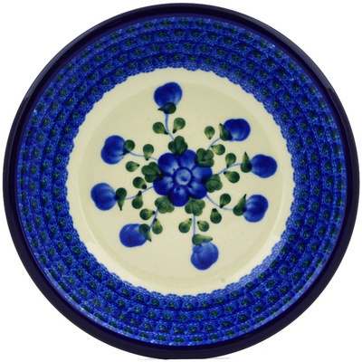 "Polish Pottery Pasta Bowl 8"" Blue Poppies"