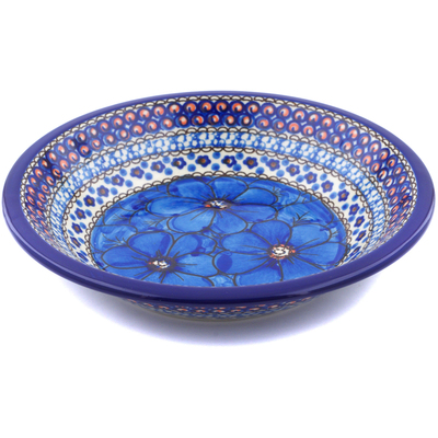"Polish Pottery Pasta Bowl 8"" Cobalt Poppies UNIKAT"