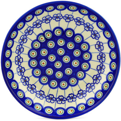 "Polish Pottery Pasta Bowl 8"" Flowering Peacock"