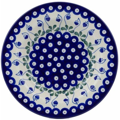 "Polish Pottery Pasta Bowl 9"" Bleeding Heart Peacock"