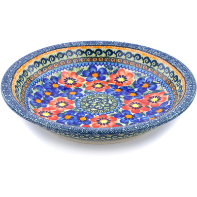 "Polish Pottery Pasta Bowl 9"" Blue And Red Poppies UNIKAT"