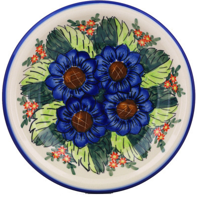 "Polish Pottery Pasta Bowl 9"" Blue Bouquet UNIKAT"