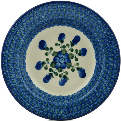 "Polish Pottery Pasta Bowl 9"" Blue Poppies"