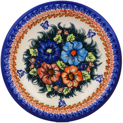 "Polish Pottery Pasta Bowl 9"" Butterfly Splendor UNIKAT"