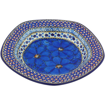 "Polish Pottery Pasta Bowl 9"" Cobalt Poppies UNIKAT"
