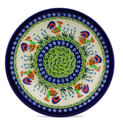 "Polish Pottery Pasta Bowl 9"" Country Rooster UNIKAT"