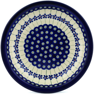 "Polish Pottery Pasta Bowl 9"" Flowering Peacock"
