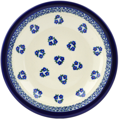 "Polish Pottery Pasta Bowl 9"" Forget Me Not Dots"