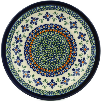 "Polish Pottery Pasta Bowl 9"" Gingham Flowers"