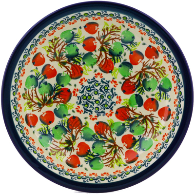 "Polish Pottery Pasta Bowl 9"" Red And Green Berries"