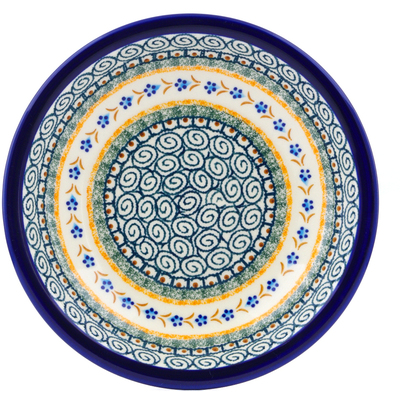 "Polish Pottery Pasta Bowl 9"" Tiny Daisy Dots"