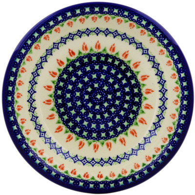 "Polish Pottery Pasta Bowl 9"" Tulips And Diamonds"