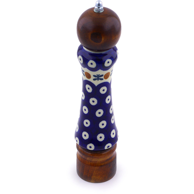 "Polish Pottery Pepper Grinder 8"" Mosquito"