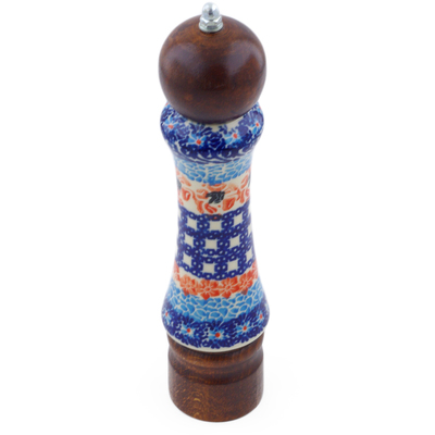 "Polish Pottery Pepper Grinder 8"" Roses And Squares"