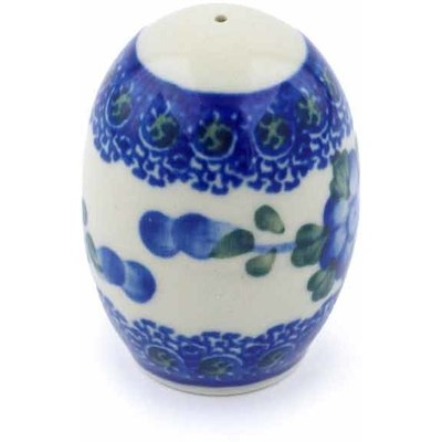 "Polish Pottery Pepper Shaker 2"" Blue Poppies"