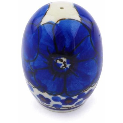 "Polish Pottery Pepper Shaker 2"" Cobalt Poppies UNIKAT"