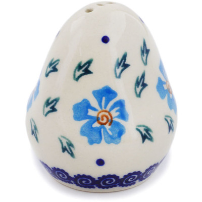 "Polish Pottery Pepper Shaker 3"" Blue Cornflower"