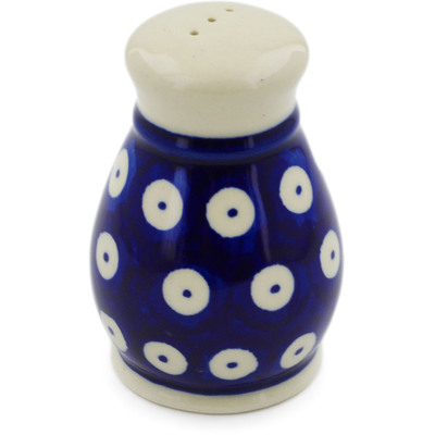 "Polish Pottery Pepper Shaker 3"" Blue Eyed Peacock"