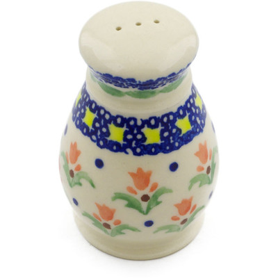 "Polish Pottery Pepper Shaker 3"" Cocentric Tulips"