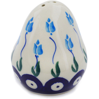 "Polish Pottery Pepper Shaker 3"" Peacock Tulip Garden"