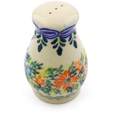 "Polish Pottery Pepper Shaker 3"" Red Cornflower And Blue Butterflies UNIKAT"