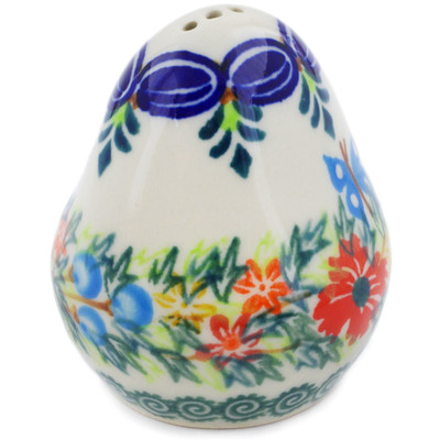 "Polish Pottery Pepper Shaker 3"" Ring Of Flowers UNIKAT"
