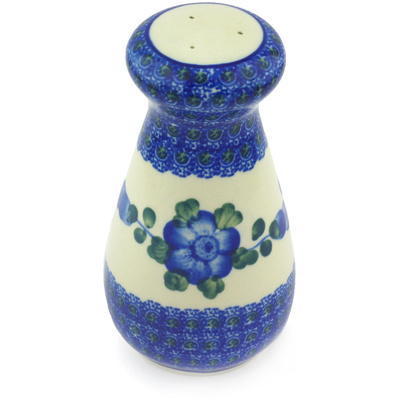 "Polish Pottery Pepper Shaker 6"" Blue Poppies"