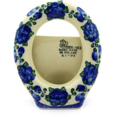 "Polish Pottery Picture Frame 4"" Blue Poppies"