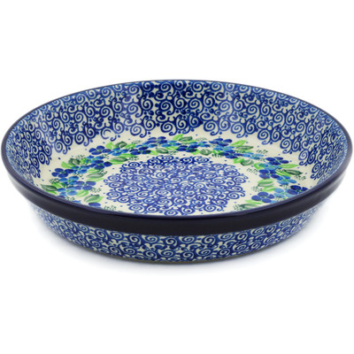 "Polish Pottery Pie Dish 10"" Blue Phlox"