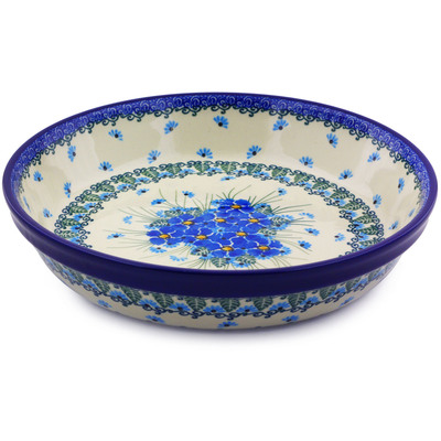 "Polish Pottery Pie Dish 10"" Forget Me Not"