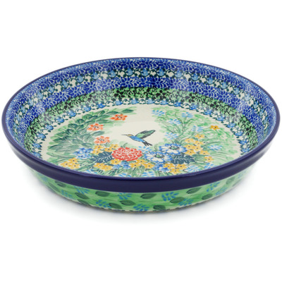 "Polish Pottery Pie Dish 10"" Hummingbird Meadow UNIKAT"