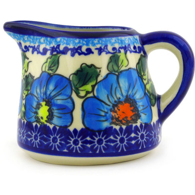 Polish Pottery Pitcher 10 oz Bold Blue Poppies UNIKAT
