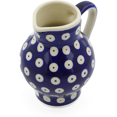 Polish Pottery Pitcher 11 oz Blue Eyed Peacock