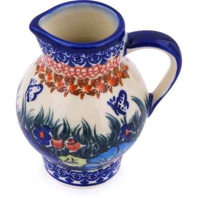 Polish Pottery Pitcher 11 oz Butterfly Splendor UNIKAT