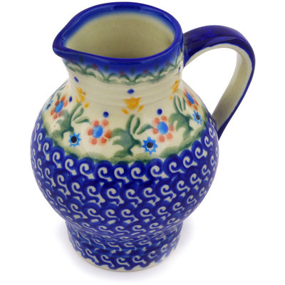 Polish Pottery Pitcher 11 oz Spring Flowers