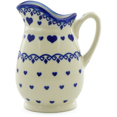Polish Pottery Pitcher 12 oz Blue Valentine