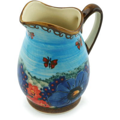 Polish Pottery Pitcher 12 oz Field Of Butterflies UNIKAT