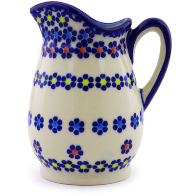 Polish Pottery Pitcher 12 oz Pansy Plenty